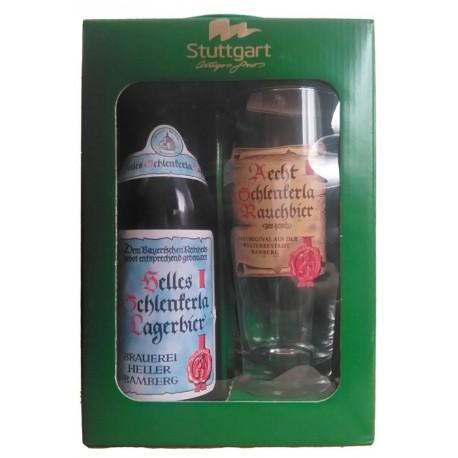Kit Helles Schlenkerla Lager com 1 Cerveja e 1 Copo