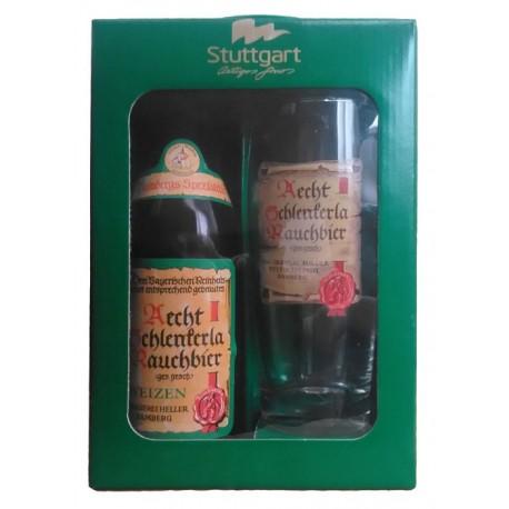 Kit Aecht Schlenkerla Rauchbier Weizen com 1 Cerveja e 1 Copo