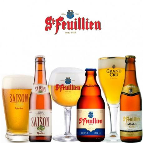 Kit St Feuillien com 3 Cervejas e 3 Copos