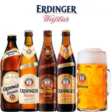 Kit Degustação Erdinger com 4 Cervejas e 1 Caneca 500ml
