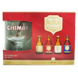 Kit Chimay com 4 Garrafas 330ml e 1 Copo
