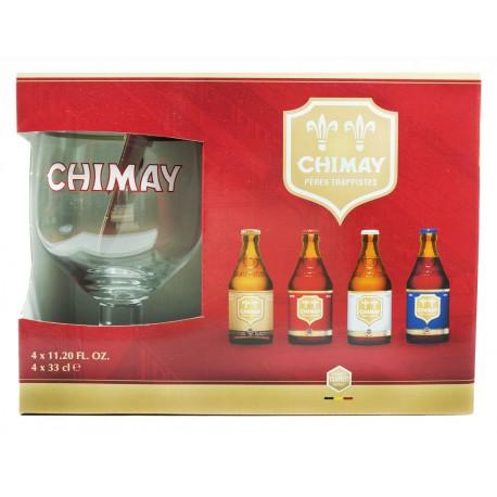 Kit Chimay com 4 Garrafas 330ml e 1 Copo