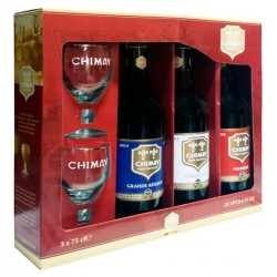 Kit Chimay com 3 Cervejas 750ml e 2 Copos
