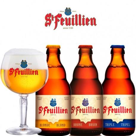 Kit Degustação St Feuillien com 3 Cervejas e 1 Copo
