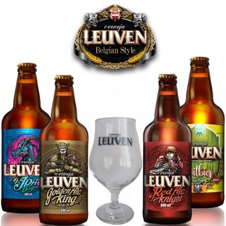 Kit Degustação Leuven com 4 Cervejas e 1 Copo