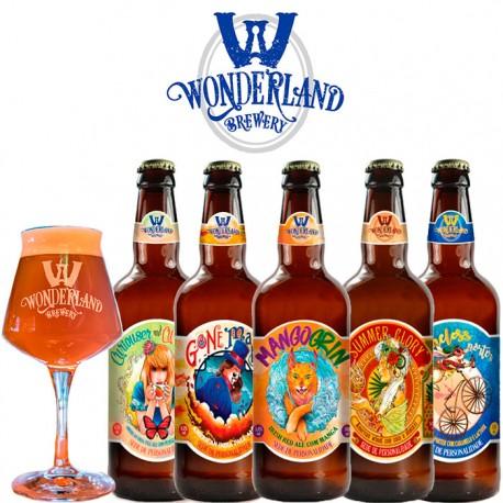 Kit Degustação Wonderland Brewery com 5 Cervejas e 1 Copo