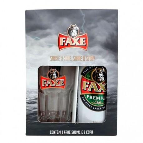 Kit da Cerveja Faxe Premium com 1 Lata 500ml e 1 Copo