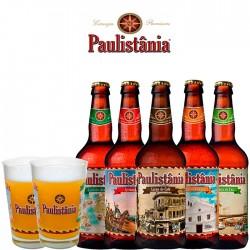 Kit Paulistânia Craft com 5 Cervejas e 2 Copos