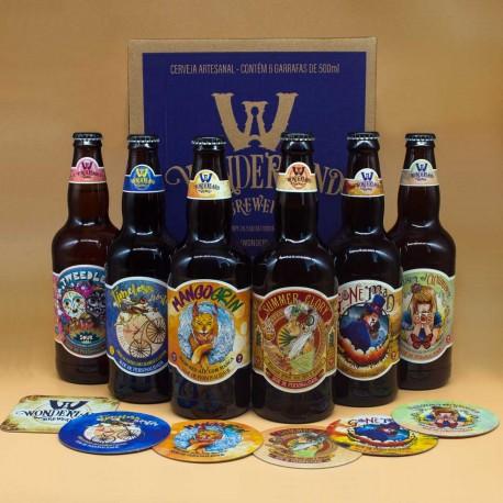 Caixa Wonderland Brewery com 6 Cervejas, 6 Porta-Copos e 3 Adesivos