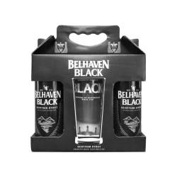 Kit Belhaven Black Scottish Stout Com 2 Latas e 1 Copo