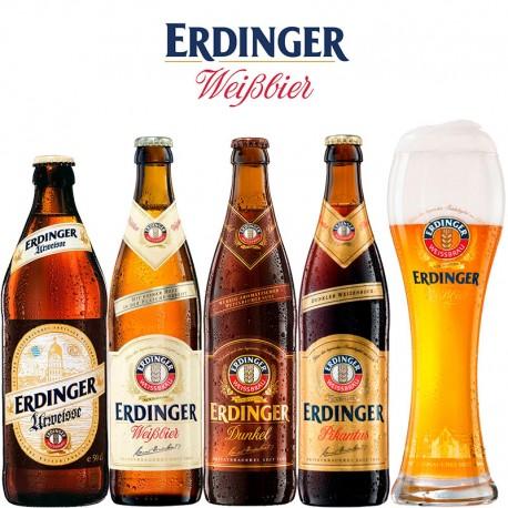 Kit Degustação Erdinger com 4 Cervejas e 1 Copo 500ml