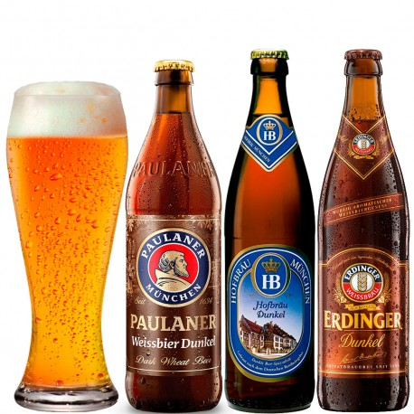 Kit de Cervejas de Trigo Escuras Com 3 Garrafas e 1 Copo
