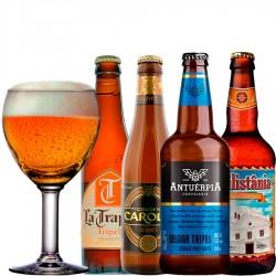 Kit Degustação do Estilo Tripel com 4 Cervejas e 1 Copo