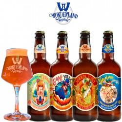 Kit Degustação Wonderland Brewery com 4 Cervejas e 1 Copo