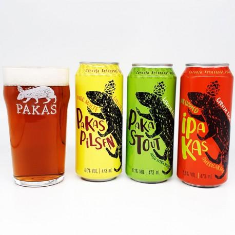 Kit Degustação PaKas com 3 Cervejas e 1 Copo