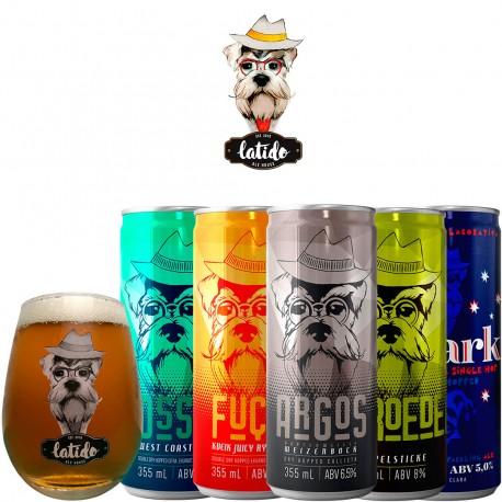 Kit Degustação Latido Ale House com 5 Cervejas e 1 Copo