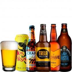 Kit Degustação Pilsen com 5 Cervejas e 1 Copo