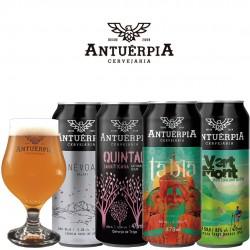 Kit Degustação Antuérpia com 4 Cervejas e 1 Taça