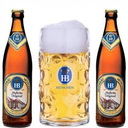Kit Degustação HB com 2 Cervejas e 1 Caneca 1 Litro