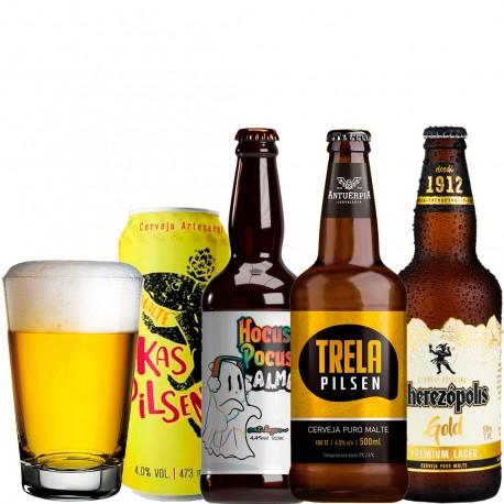 Kit Degustação Pilsen / Lager com 4 Cervejas e 1 Copo