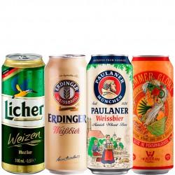 Kit Degustação de Cervejas de Trigo Com 4 Latas