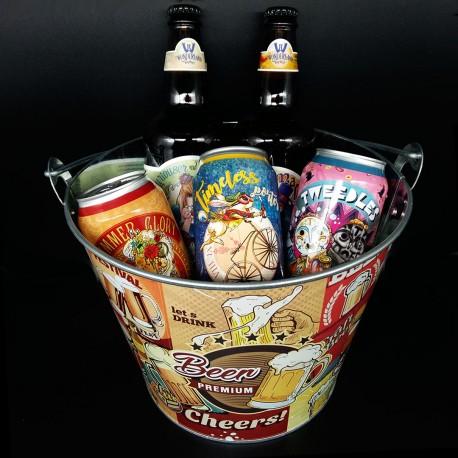 Balde com Kit Degustação Wonderland Brewery 5 Cervejas