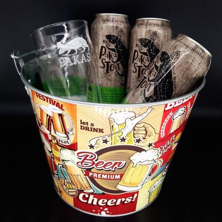 Balde com Kit Degustação Wood Pakastout 3 Cervejas 473ml e 1 Copo Pint