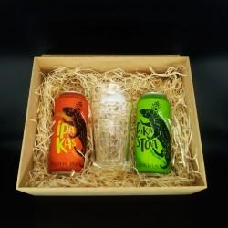 Kit PaKas com 2 Cervejas e 1 Copo em Caixa MDF