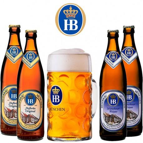 Kit Degustação HB com 4 Cervejas e 1 Caneca 500ml