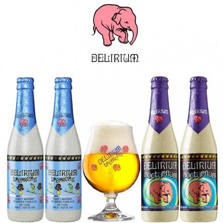 Kit Degustação Delirium com 4 Cervejas e 1 Copo