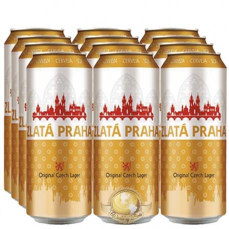 Pack da Cerveja Tcheca Zlatá Praha Lata com 12 Unidades